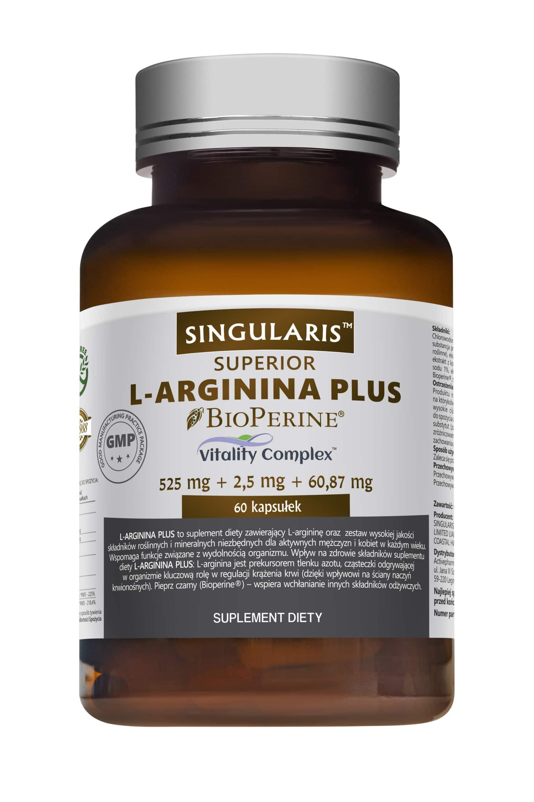 L-ARGININA PLUS 525 mg SINGULARIS® SUPERIOR 60 kapsułek