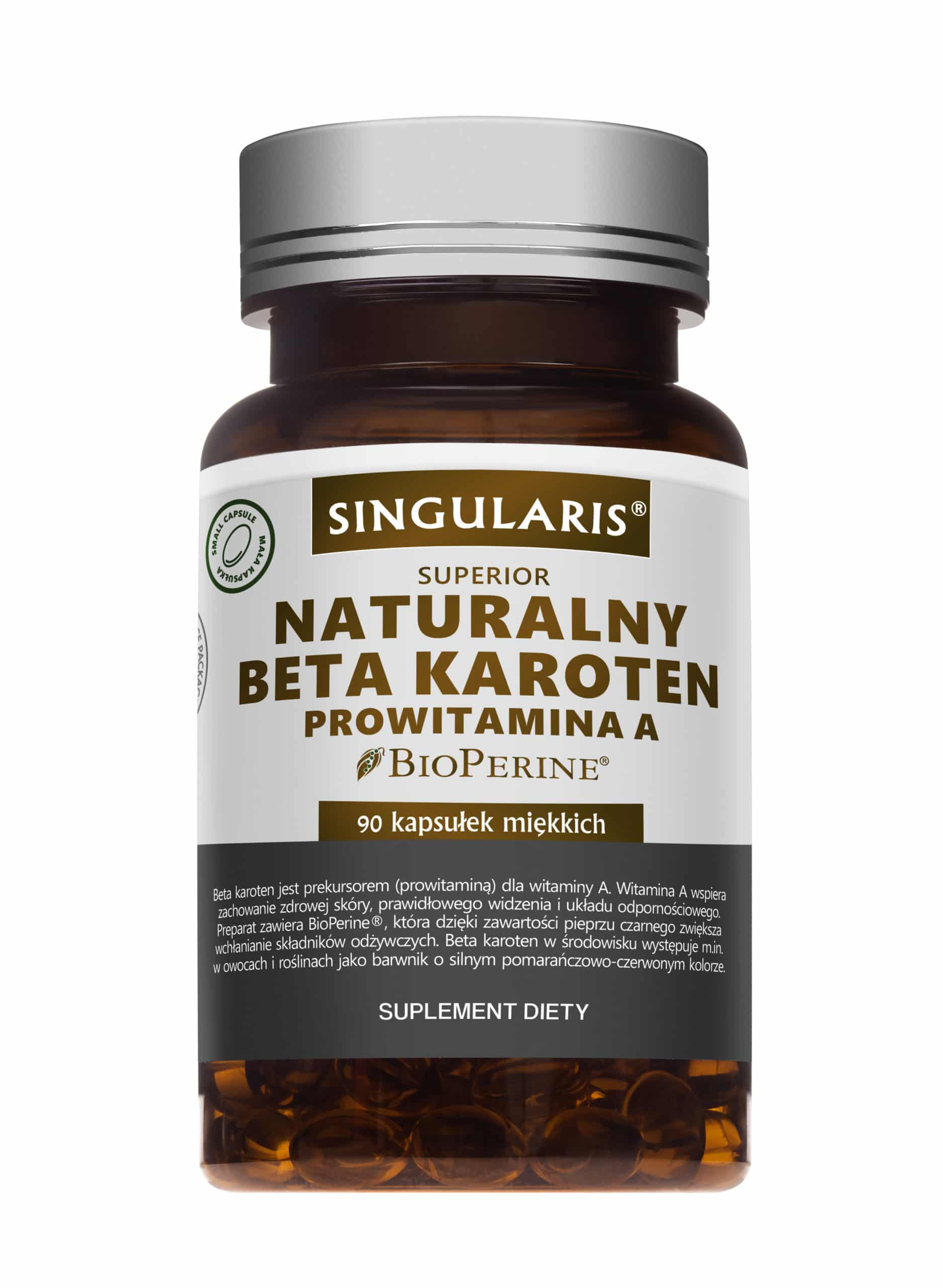 NATURALNY BETA KAROTEN PROWITAMINA A SINGULARIS® SUPERIOR - 90 kapsułek wegańskich